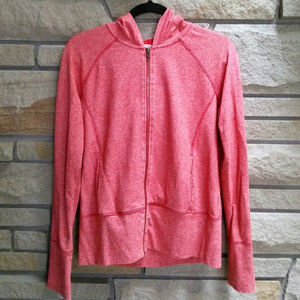 Caslon Heathered Zip Up Hoodie Coral Red L